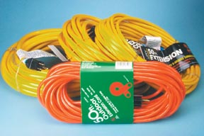 12/3 Yellow Hi-Grade Pro Glo Extension Cord w/ Green Lighted End