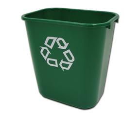 Recycle Plastic Wastebasket, Green
