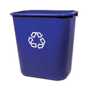 Recycle Plastic Wastebasket, Blue