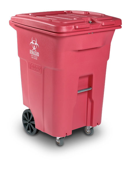 TOTER MEDICAL WASTE CART 64 GAL RED REGULATED 150 LB. RATING